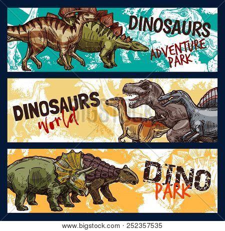 Dinosaur World Banners For Dino Adventure Park Design. Jurassic Monsters Sketch With Tyrannosaurus R
