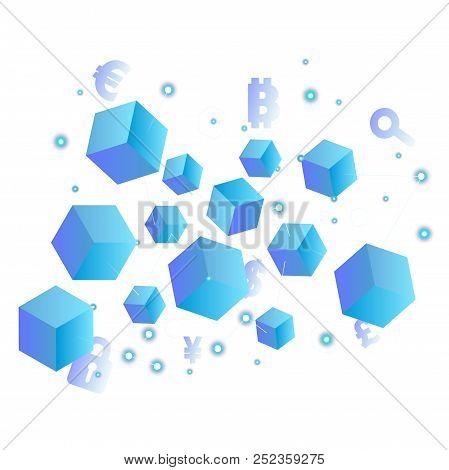 Blockchain Concept Isometric Blockchain Background Vector Image