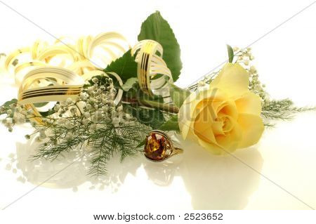 Yellow Rose With A Ring