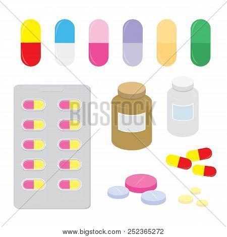 Drug Medicine Panel Pill Dose Capsule Heal Treatment Cartoon Vector poster