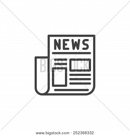 Newspaper Outline Icon Linear Style Sign For Mobile Concept And Web Design News Paper