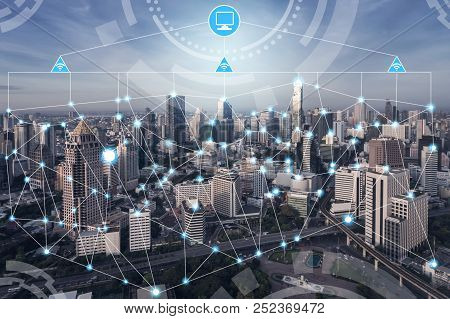 Smart City And Wireless Communication Network Concept - Internet Of Things ( Ot), Information Commun