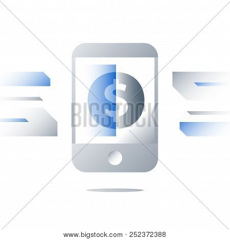 Smartphone Payment Technology Concept, Mobile Banking Services, Wireless Instant Payment, Dollar Sig