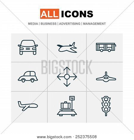 Transportation Icons Set With Plane, Transport, Auto And Other Plane Elements. Isolated Vector Illus