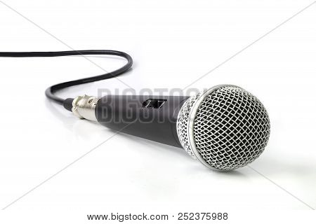 Black Microphone Isolated On A White Background