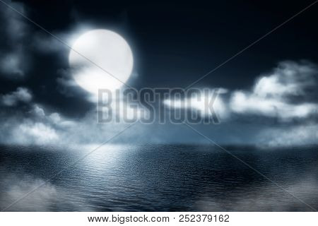 Misty Lake At Night With Moonlight Background. Halloween Background