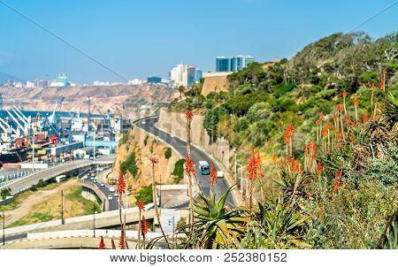 Seaside boulevard in Oran, a major Algerian city poster