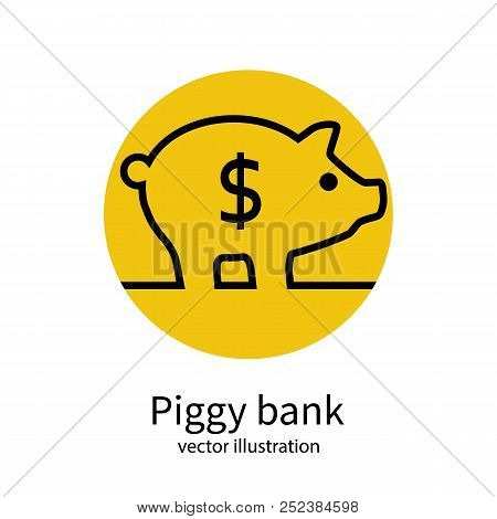 Piggy Bank Minimal Line Icon Isolated On Background. Vector Illustration Flat Design. Gold Dollar Co