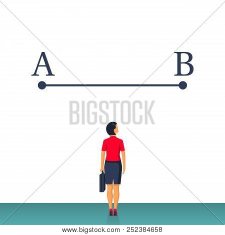 Businesswoman In Suit Standing In Front Of Line Between Points A And B. Way From Point A To Point B