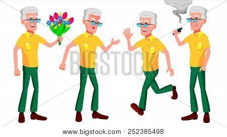 Old Man Poses Set Vector. Elderly People. Senior Person. Aged. Comic Pensioner. Lifestyle. Postcard,