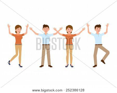 Very Happy Boss Man And Woman Cartoon Character. Smart Male And Female Clerk In Different Poses