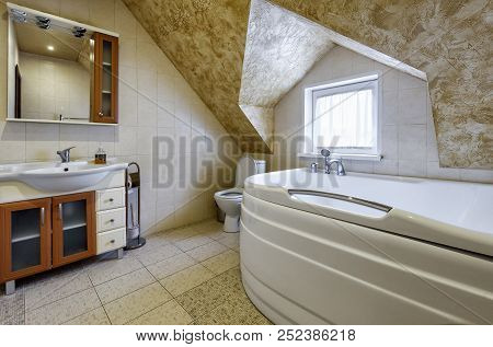 Moscow - May 2, 2018: Interior Of Bathroom In Country House Or Hotel. Interior Design Of Restroom In