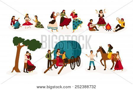 Set Of Lifestyle Scenes With Gypsies Or Romani People Performing Various Activities - Riding Horse,