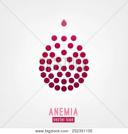 Anemia and Hemophilia icon. Drop of blood with blood cells isolated on white background in flat style. Haemophilia disease awareness symbol. Vector illustration. poster