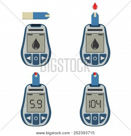 Set Blood Glucose Meters And Blood Drop. Blood Sugar Level Testing, Treatment, Monitoring And Diagno