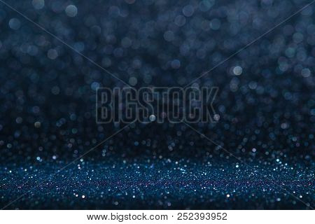 Abstract Dark Navy Blue Sparkling Glitter Wall And Floor Perspective Background Studio With Blur Bok