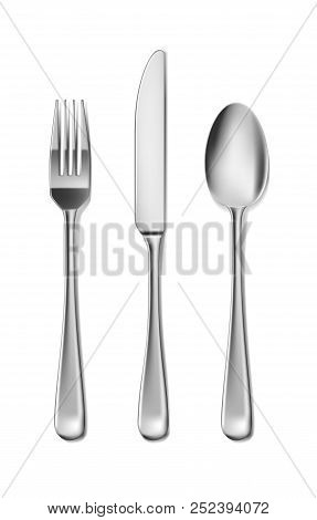 Steel Cutlery, Knife, Fork And Spoon In Realistic Style. Fork And Knife Spoonset Design Isolated On