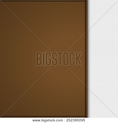 Brown Leather Panel With Stitching And Shadow On White Background