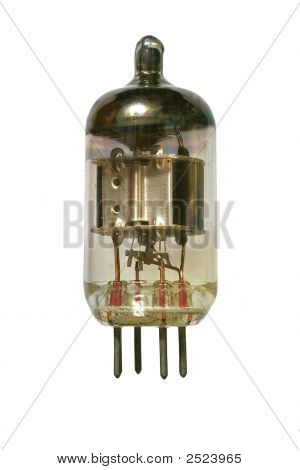 Old Vacuum Radio Tube Front View.