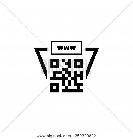 Qr Code Link To Site. Flat Vector Icon Illustration. Simple Black Symbol On White Background. Qr Cod