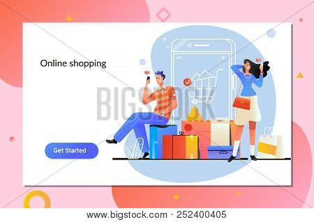 Online Shopping. E Commerce And Delivery Service Concept.peiole Shop Online Using Smartphone.