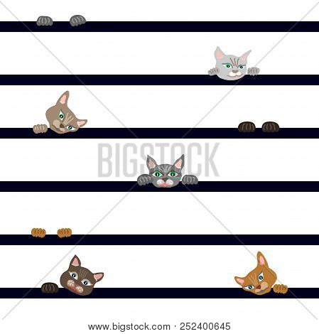 Trendy Textile Design For Children. On Contrast Background.