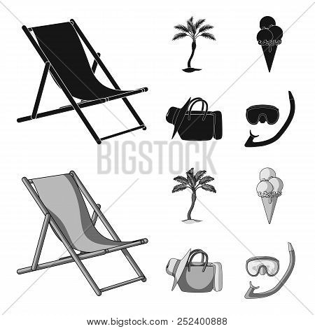 Beach, Palm Tree, Ice Cream.summer Vacation Set Collection Icons In Black, Monochrom Style Vector Sy