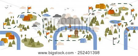 Horizontal Banner With Trail Map, Hiking Route Or Footpath Decorated With Touristic Areas, Camping L