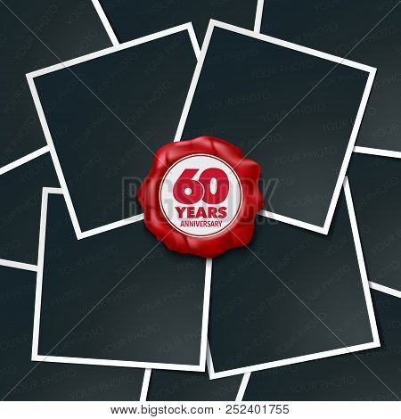 60 Years Anniversary Vector Icon, Logo. Design Element, Greeting Card With Collage Of Photo Frames A