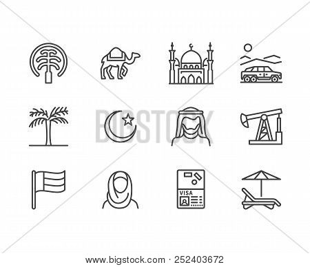 Uae Flat Line Icons. Arab Emirates Flag, Dubai , Islam Mosque, Desert Offroad Car, Muslim People, Ca