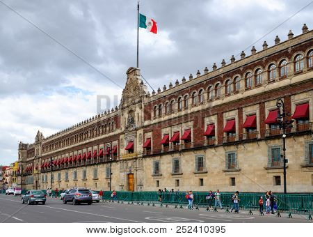 MEXICO CITY,MEXICO - JULY 12,2018 :  The National Palace in the historical center of Mexico City