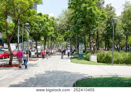 MEXICO CITY,MEXICO - JULY 12,2018 :  The famous Alameda Central park in the historical center of Mexico City