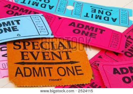 Assorted admit one ticket stubs in closeup poster