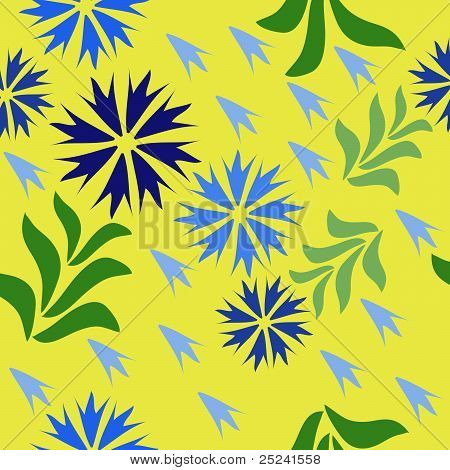 Seamless floral pattern with cornflower