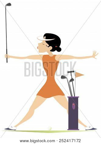 Smiling Woman With Golf Clubs On The Golf Course Illustration. Smiling Woman With Bag Of Golf Clubs