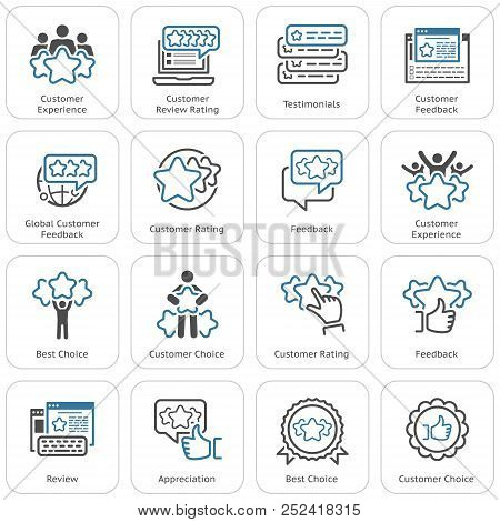 Simple Set Of Testimonials Related Vector Line Icons. Contains Such Icons As Best Choice, Customer C