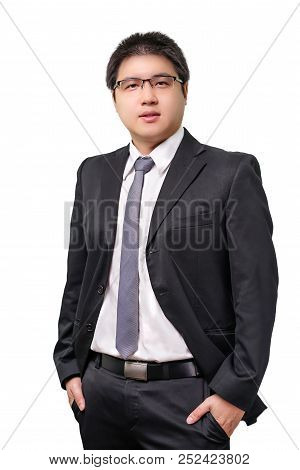 Isolated Young Asian Business Man In Formal Suit With Necktie On White Background