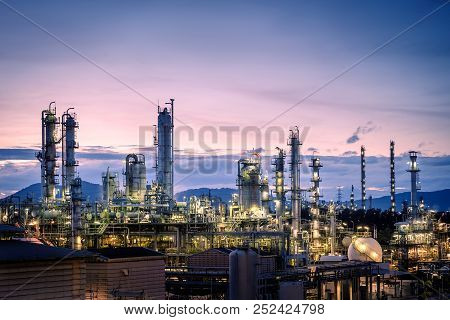 Manufacturing Of Petroleum Industrial Plant On Sky Twilight Background, Oil And Gas Refinery Or Petr