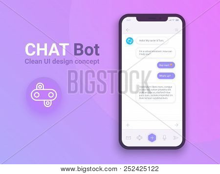 Clean Mobile Ui Design Concept. Trendy Chatbot Application With Dialogue Window. Sms Messenger. Vect