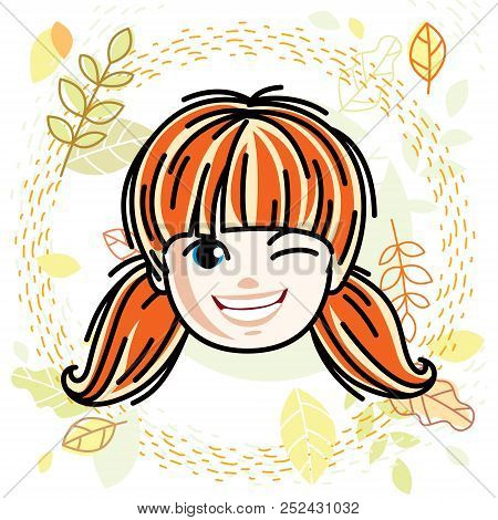 Vector Illustration Of Beautiful Red-haired Happy Girl Face, Positive Face Features, Teenager Winkin