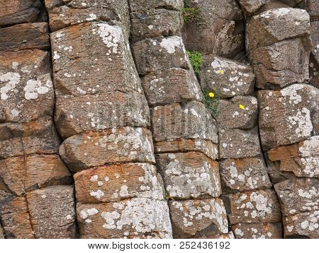 Stone Formation Of Angular Basalt Stones On The Coast Of Northern Ireland At The Giants Causeway On