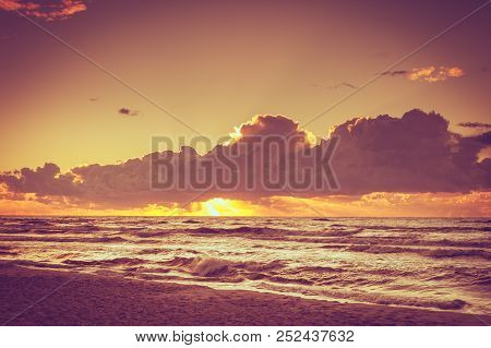 Beautiful Seascape Evening Baltic Sea Sunset Horizon And Cloudy Sky. Tranquil Scene. Natural Backgro