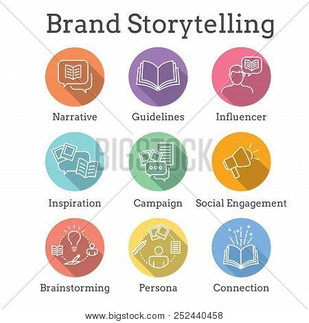 Storytelling Icon With Photo, Speech Bubbles, And Person Telling A Brand - Advertising Story