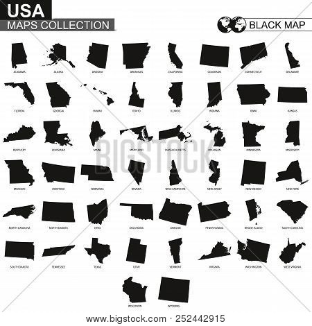 Map Collection Of Usa States, Black Contour Map Of Us State. Vector Set.