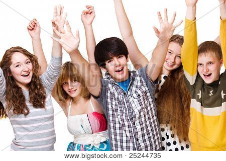 Excited youth, over white background