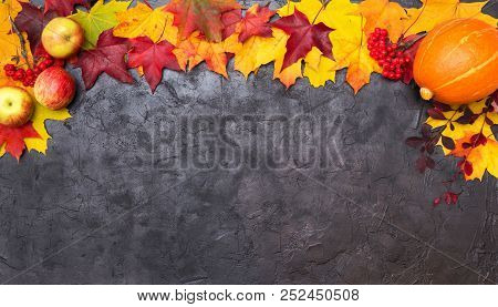 Colorful Autumn Leaves With Apple, Rowan And Pumpkin On A Black Textural Background