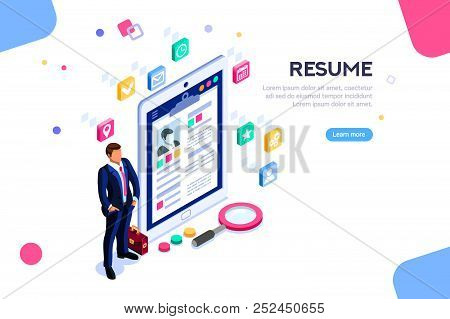 Web Page, Banner For Resume Resources. Employer, Customer, Boss Recruit. Businessman Isometric Human