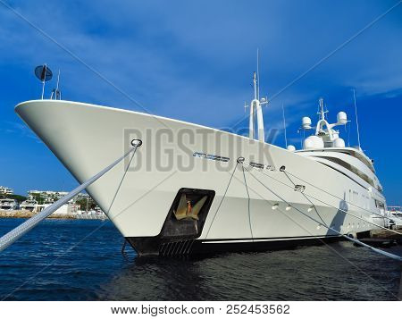 Luxury Yacht Anchored In Port Pierre Canto At The Boulevard De La Croisette In Cannes, France
