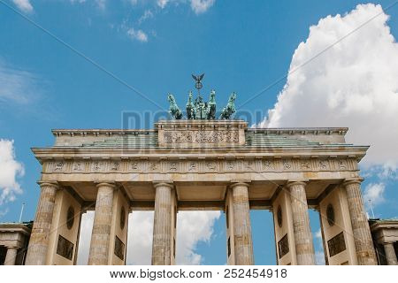 Brandenburg Gate In Berlin, Germany. Architectural Monument In Historic Center Of Berlin. Symbol And