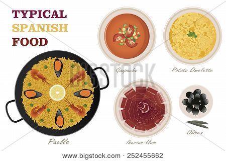 Typical Spanish Food. Gazpacho, Potato Omelette, Iberian Ham, Olives